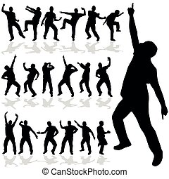 vektor, silhouette, mann, tanzen