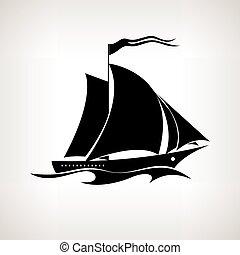 vektor, silhouette, segeln, hintergrund, gefäß, licht, abbildung