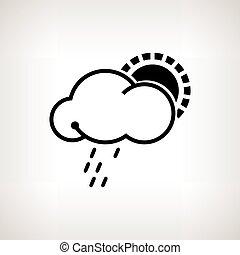 vektor, silhouette, sonne, wolke, regen, abbildung