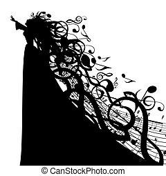 vektor, silhouette, von, frau, mit, musikalisches, symbole