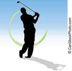 vektor, silhouette, von, golfspieler, mit, grün, spur, auf,...
