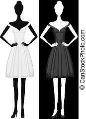 vektor, silhouette, von, m�dchen, in, schöne , kleiden