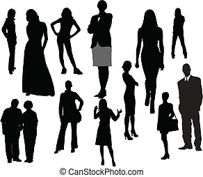 vektor, silhouettes., män, illustration, kvinnor