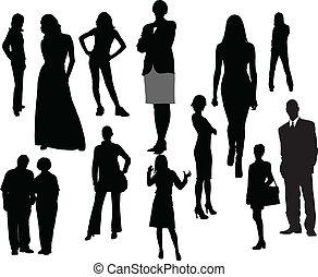 vektor, silhouettes., män, kvinnor