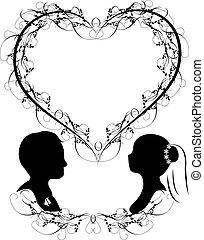 vektor, silhuet, bryllup