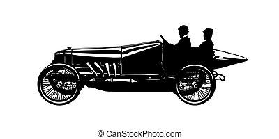 vektor, silhuet, i, to mænd, ind, en, vinhøst, racing vogn