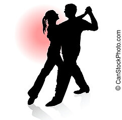 vektor, silhuett, av, koppla dansande, tango, med, röd sol, på, bakgrund.