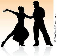 vektor, silhuett, av, koppla dansande, tango, på, varm, färg, bakgrund.