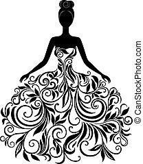 vektor, silhuett, av, ung kvinna, in, klänning