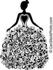 vektor, silhuett, klänning, vacker