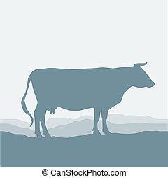 vektor, silhuett, ko, skrubbsår, blå, pasture., grå, fält, ...