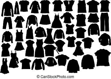 vektor, silhuettes, kläder