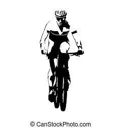 vektor, silueta, názor, dostihy, cyklista, čelo, jezdit na kole, abstraktní, hora