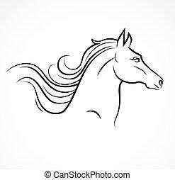 vektor, silueta, o, kůň, hlavička