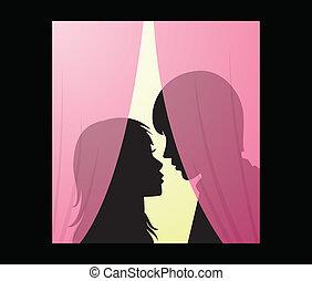 vektor, silueta, o, mladík, a, manželka, pozadu, jeden, opona