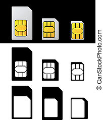 vektor, sim karte, standard, mikro, nano, adapter
