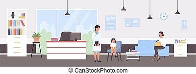 vektor, sjukhus, barnläkare, unge, tecknad film, illustration, läkare, specialist, pediatrisk, flicka, undersöka, tecken, examen, bakgrund, tålmodig