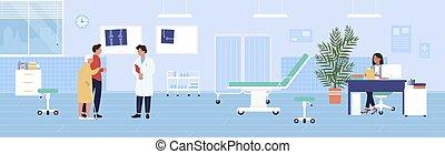 vektor, sjukhus, tecken, man, tecknad film, illustration, traumatology, gammal, checkup, besöka, läkare, traumatologist, kvinna, bakgrund, tålmodig