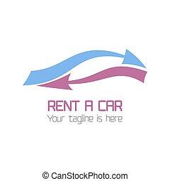 vektor, skabelon, i, vogn rental, logo
