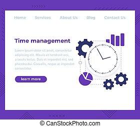 vektor, skabelon, ledelse, website, tid