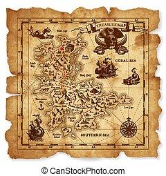 vektor, skatt kartlagt, antikvitet