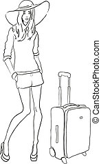 vektor, skiss, mode, kvinna, med, väska