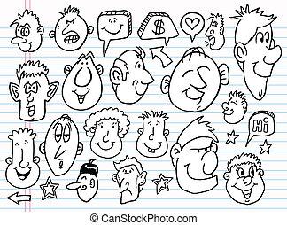 vektor, skitse, doodle, sæt, notesbog