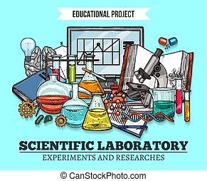 vektor, skitse, plakat, by, videnskabelig forskning