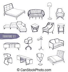 Sessel gezeichnet  Stühle, sofas, satz, gezeichnet, hand. Satz, stühle,... Clipart ...