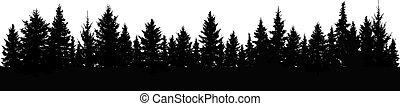 vektor, skog, träd, gran, silhouette.