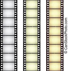 vektor, skrapet, seamless, film, remsor