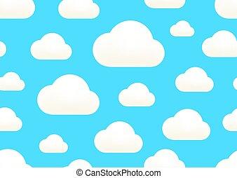 vektor, sky., blaues, clound, seamless, weißer hintergrund, wolkenhimmel