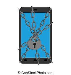 vektor, smartphone, kettensperre, zubehörteil, protection., gegen, schutz, telefon., abbildung, zuverlässig, viruses.