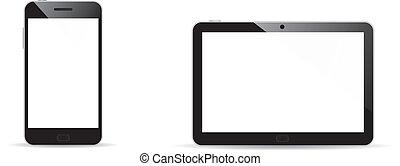 vektor, smartphone, und, tablette