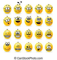 vektor, smiley, hangulatok, érzelmek