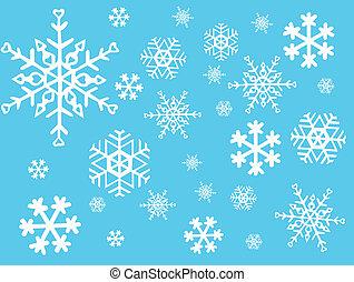 vektor, -, snöflinga