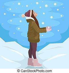 vektor, snowflakes., ábra, winter., diák, beakad, leány