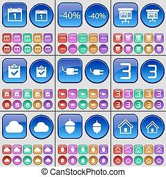 vektor, socket, sæt, house., graph, store, tre, buttons., rabat, multi-colored, agern, sky, kalender, give en oversigt over