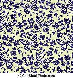 vektor, sommerfugle, seamless, mønster
