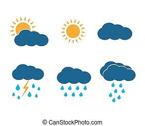 vektor, sonne, heiligenbilder, set., wolkenhimmel, wetter, lightning., regen