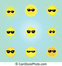 vektor, sonne- satz, sonnenbrille, heiligenbilder