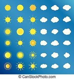 vektor, sonne- satz, wolke, heiligenbilder