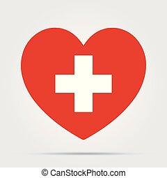vektor, sorgfalt, icon., healthcare, kreuz, hintergrund., bestand, medizin, freigestellt, herz, symbol, gesundheit, weißes