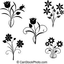 vektor, sort, blomster, silhuet