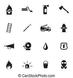 vektor, sort, firefighter, iconerne, sæt