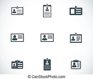vektor, sort, identifikation card, iconerne, sæt