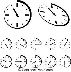 vektor, sort, omkring, hours, iconerne