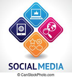vektor, sozial, medien, begriff