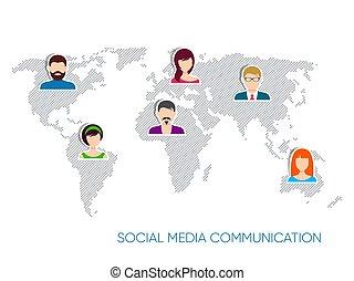 vektor, sozial, medien, kommunikation