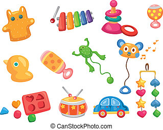 vektor, spielzeug, icons., baby, spielzeuge